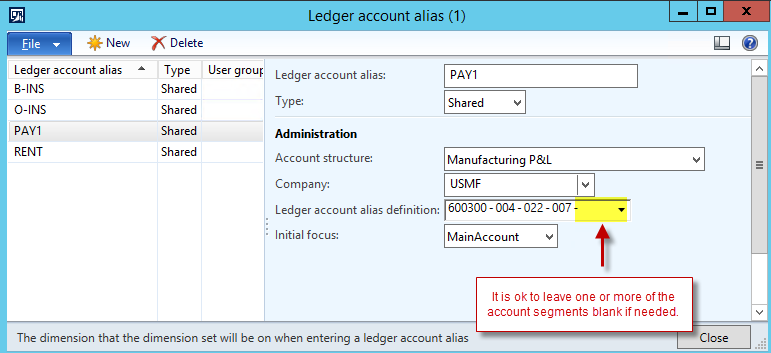 Ledger account alias screenshot