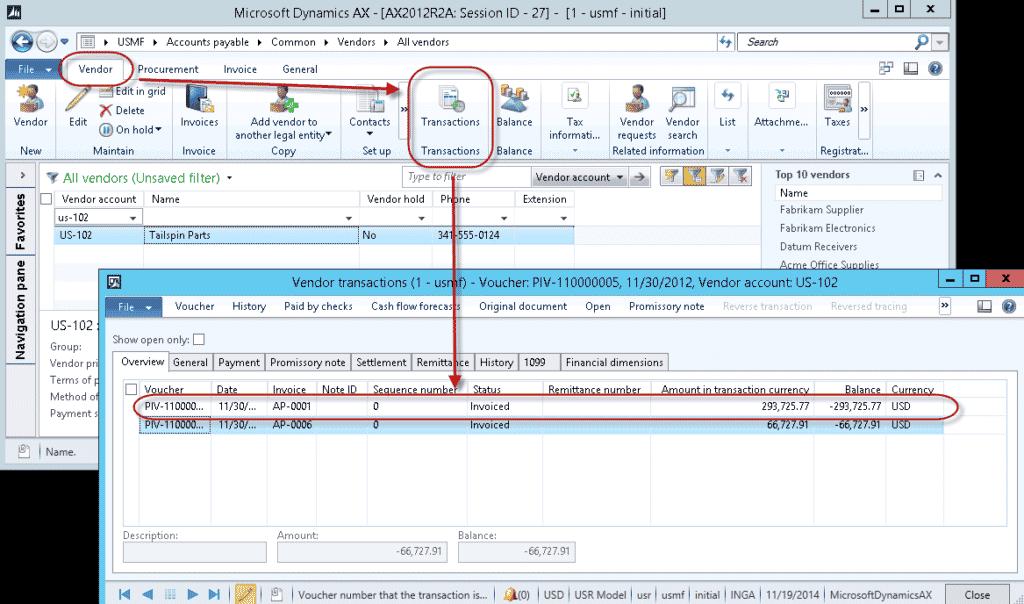 Vendor transaction in Microsoft Dynamics 365
