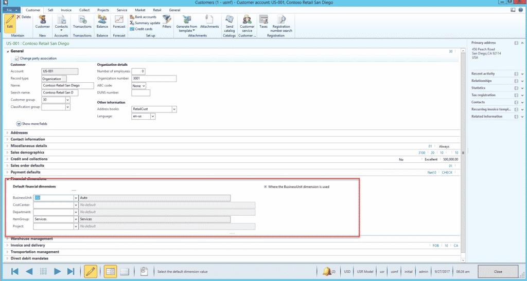 Customer account screen dynamics