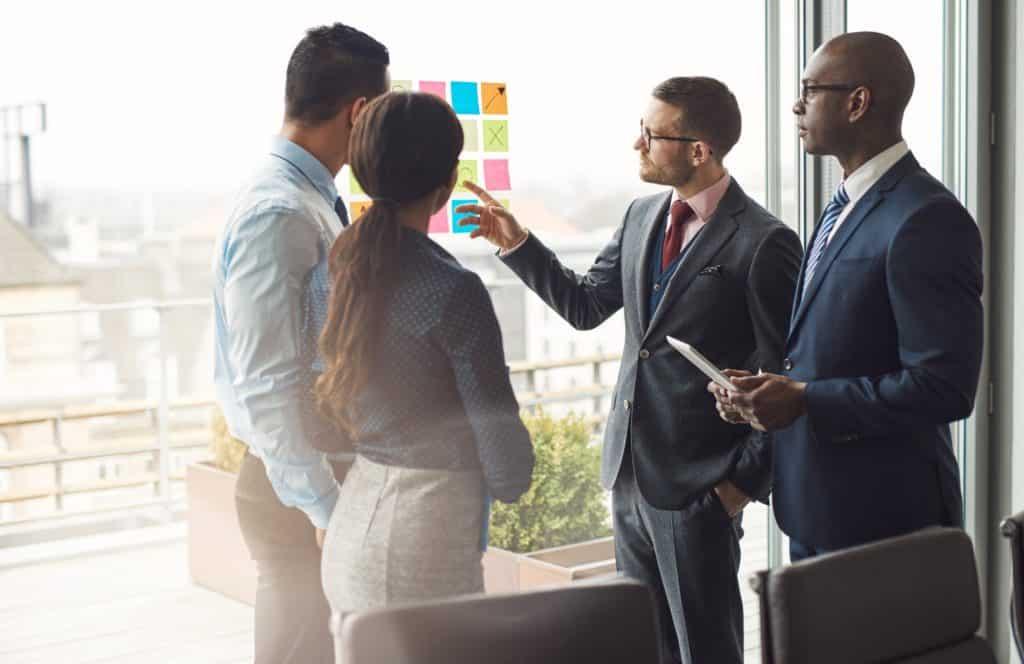 Multiracial business team brainstorming