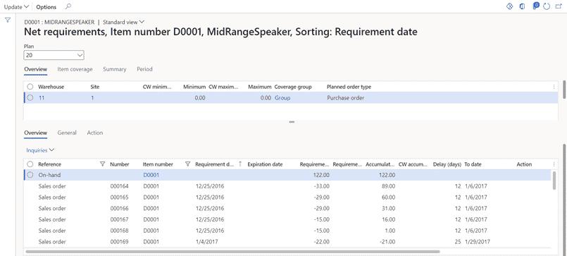 Net Requirement Inquiry in engineering change management dashboard